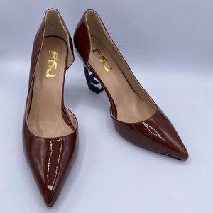 FSJ Comfort Pointed Toe Pumps for Women Black High